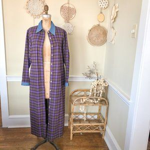 Vintage 80s Flannel Maxi Duster Button Front Dress